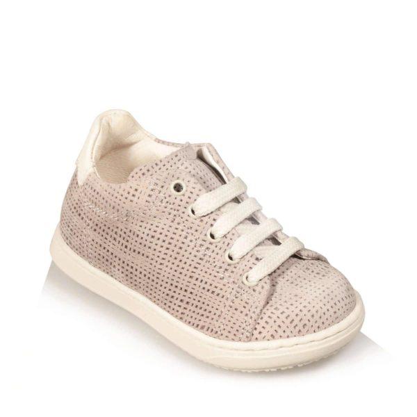 Sneakers bimbo con pelle scamosciata e decorata, colore beige
