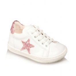 Sneakers da bimba con stellina di pelle glitterata