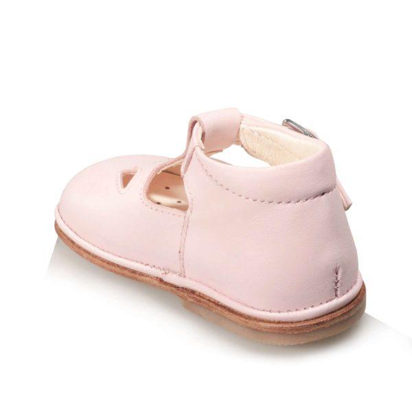 Scarpine da bambino colore rosa con due occhi e suola in cuoio
