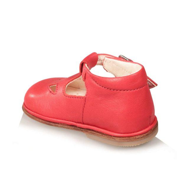 Scarpine da bambino colore rosso con due occhi e suola in cuoio
