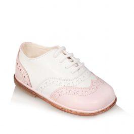 Scarpine da bambino Oxford Brogue di colore rosa e bianco