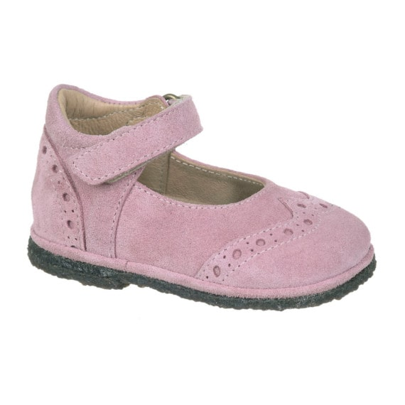 Mary Jane Brogue in velour rosa