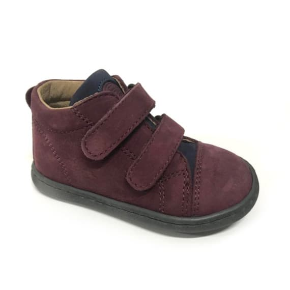 scarpa per bambini bordeaux con due strappi