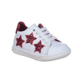 Sneakers con tre stelle glitter rosso