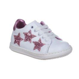 Sneakers con tre stelline glitter rosa