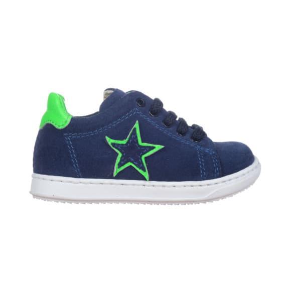 Sneakers da bambino con stellina e riporto verde fluo