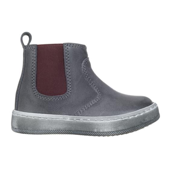 Stivaletto per bambini colore grigio con elastico laterale di colore rosso