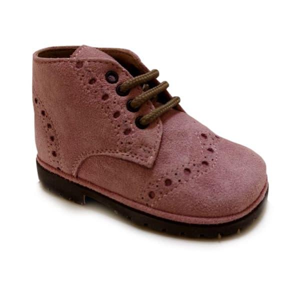 Scarpe derby brogue per bambini rosa
