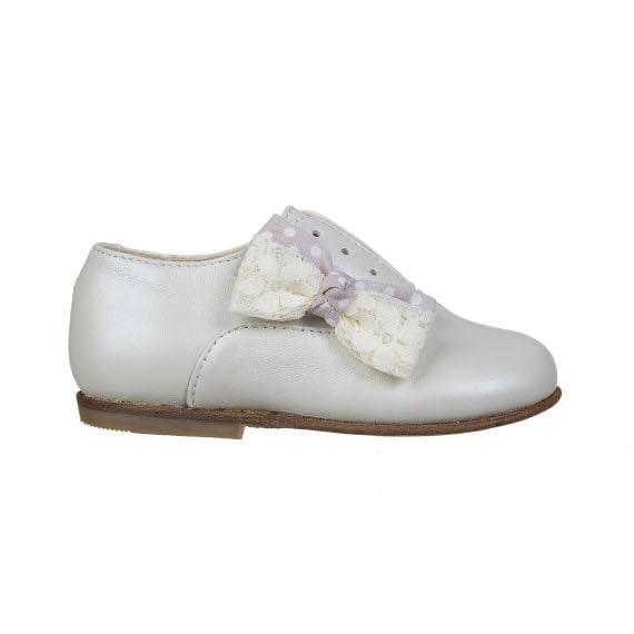 scarpa per bambina con fiocco - vitello panna perlato - laterale