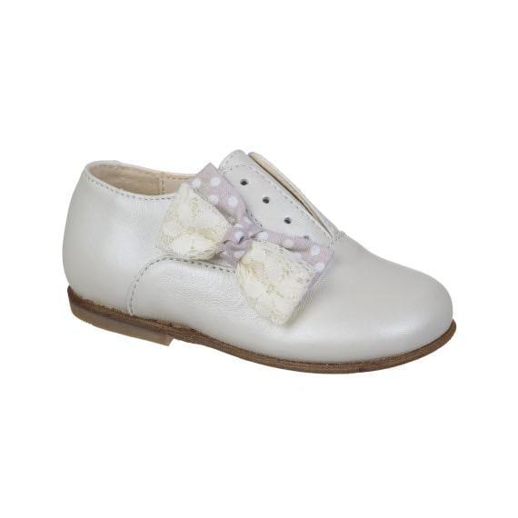 scarpa per bambina con fiocco - vitello panna perlato