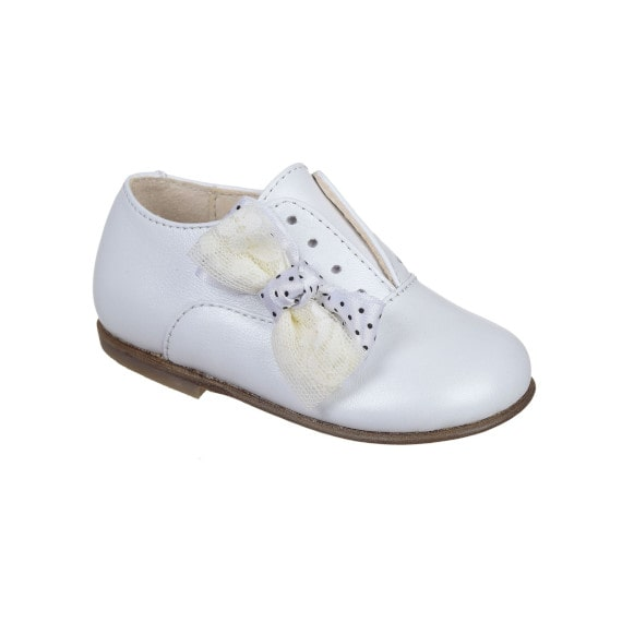 scarpa per bambina con fiocco - vitello bianco perlato