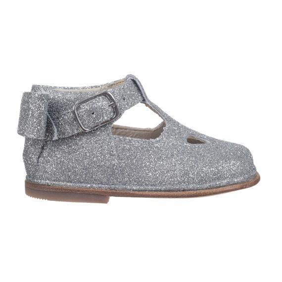 scarpa microglitter argento da bambina con occhi e fiocco - laterale