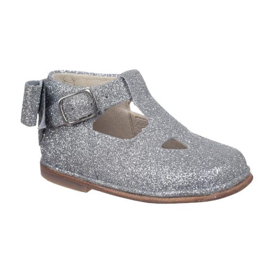 scarpa microglitter argento da bambina con occhi e fiocco - frontale