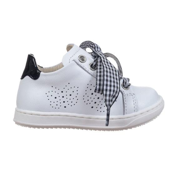 Sneaker bambina con laccio in tessuto bianco e nero foto laterale