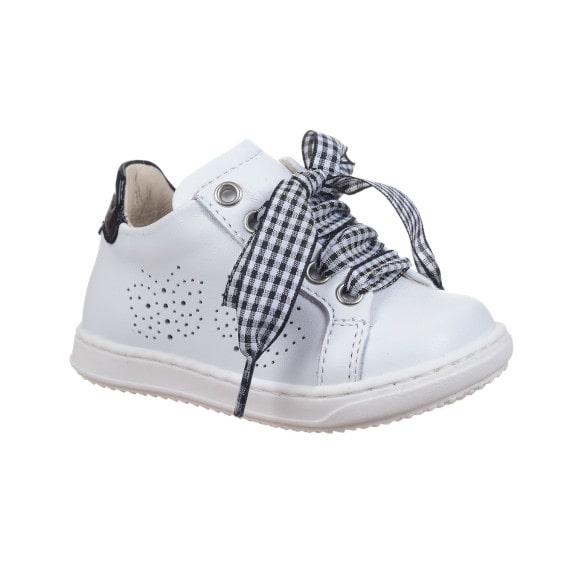 Sneaker bambina con laccio in tessuto bianco e nero