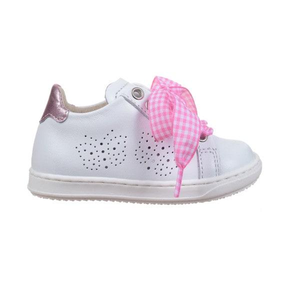 Sneaker bambina con laccio in tessuto bianco e rosa foto laterale