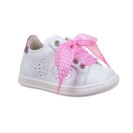 Sneaker bambina con laccio in tessuto bianco e rosa