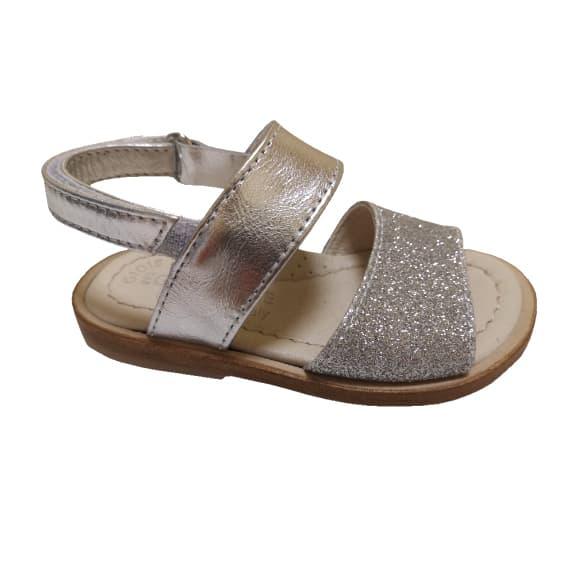 Sandalo argento in microglitter da bambina