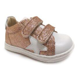 Sneaker da bambina con glitter rosa