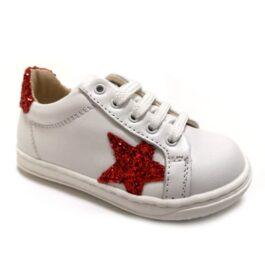 Sneaker da bambina con glitter rossi